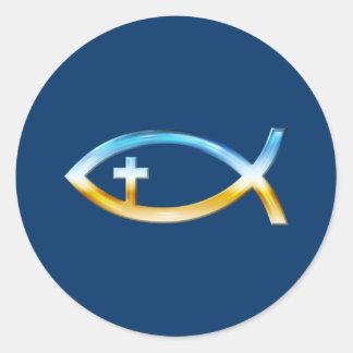Adesivo Redondo Símbolo cristão dos peixes com crucifixo - céu &