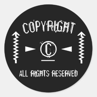 Adesivo Redondo Símbolo de Copyright todos os direitos reservados