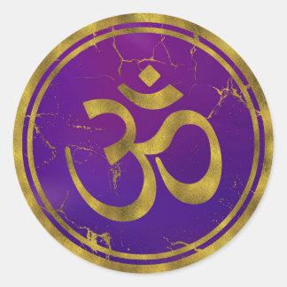 Adesivo Redondo Símbolo de OM do ouro - Aum, Omkara no roxo/índigo