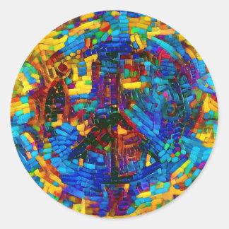Adesivo Redondo Símbolo de paz colorido do mosaico