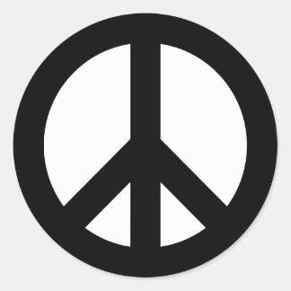 Adesivo Redondo Símbolo de paz preto e branco