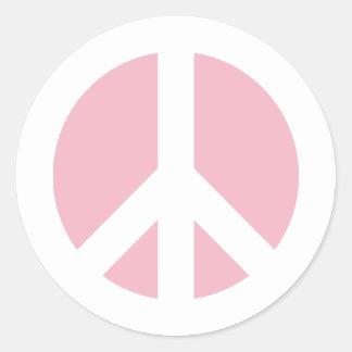 Adesivo Redondo Símbolo de paz rosa pálido
