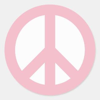 Adesivo Redondo Símbolo de paz rosa pálido e branco