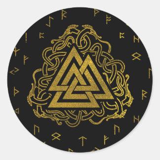 Adesivo Redondo Símbolo de Valknut do ouro no teste padrão dos