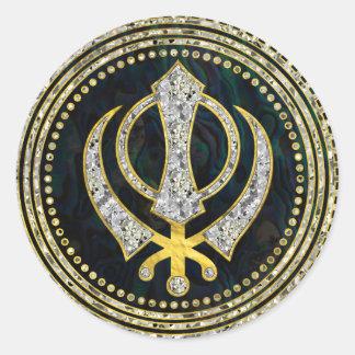 Adesivo Redondo Símbolo decorativo de Khanda com pedras preciosas