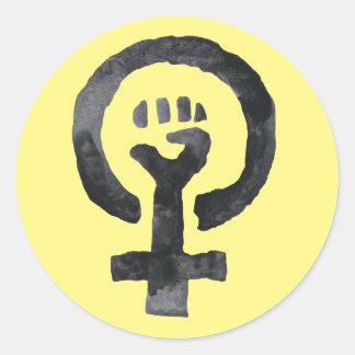 Adesivo Redondo Símbolo feminista do punho
