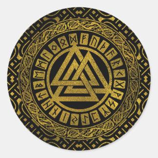 Adesivo Redondo Símbolo metálico de Valknut do ouro