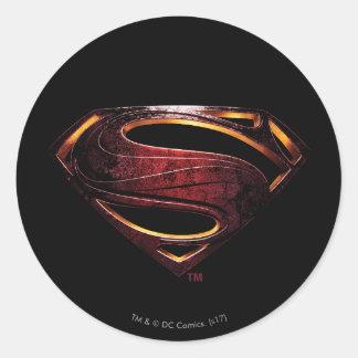 Adesivo Redondo Símbolo metálico do superman da liga de justiça  