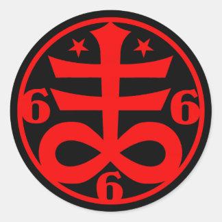 Adesivo Redondo Símbolo transversal satânico do gótico oculto