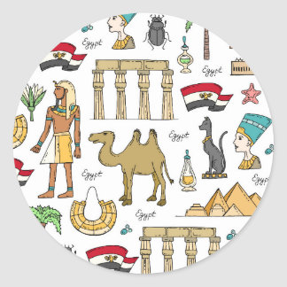 Adesivo Redondo Símbolos da cor do teste padrão de Egipto