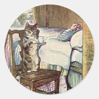 Adesivo Redondo Simpkin o gato serve o chá - Beatrix Potter