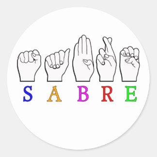 ADESIVO REDONDO SINAL CONHECIDO SURDO DO SABRE FINGERSPELLED ASL