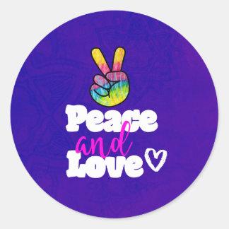 Adesivo Redondo Sinal da paz e de paz da mão do arco-íris da