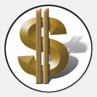 Adesivo Redondo Sinal de dólar do ouro