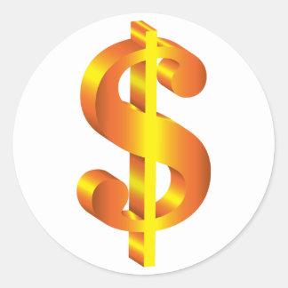 Adesivo Redondo Sinal de dólar dourado