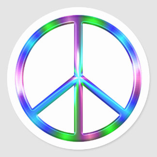 Adesivo Redondo Sinal de paz colorido brilhante