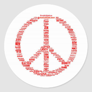 Adesivo Redondo Sinal de paz com mensagens