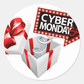 Adesivo Redondo Sinal preto da venda de segunda-feira sexta-feira