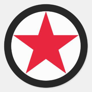 Adesivo Redondo Sinal vermelho do símbolo da estrela da guerra