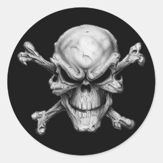 Adesivo Redondo Skull Crossed Bones