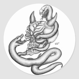 Adesivo Redondo Skull - devil heads with snake