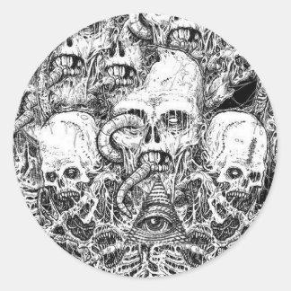 Adesivo Redondo skull illuminati