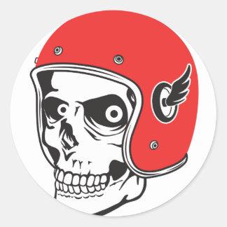 Adesivo Redondo ☞ Skullracer motorcycle helmet