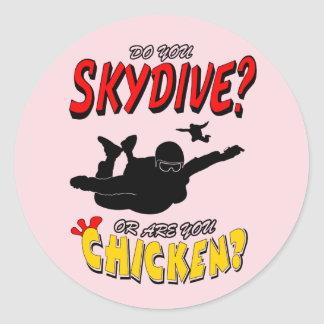 Adesivo Redondo Skydive ou galinha? (preto)