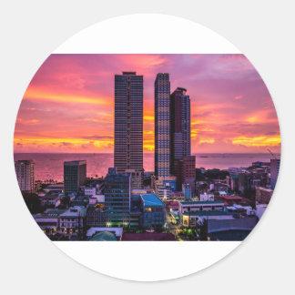 Adesivo Redondo Skyline de Manila Filipinas