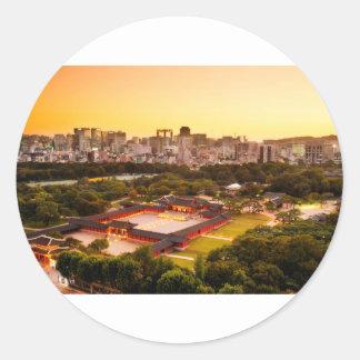 Adesivo Redondo Skyline de Seoul Coreia do Sul