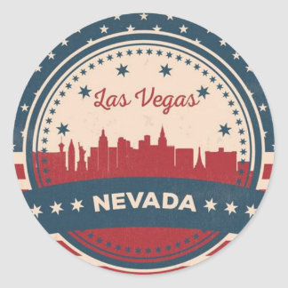 Adesivo Redondo Skyline retro de Las Vegas
