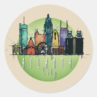 Adesivo Redondo Skyline verde de Atlanta