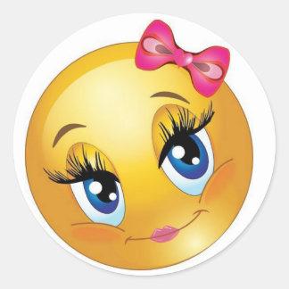 Adesivo Redondo Smiley face bonito com arco