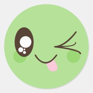 Adesivo Redondo Smiley face bonito de Kawaii do verde do Pistachio