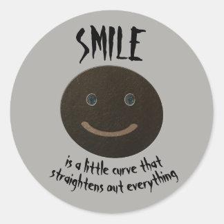 Adesivo Redondo Smiley face do cinza de Bokara