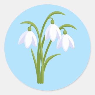 Adesivo Redondo Snowdrops - flores do primavera no azul