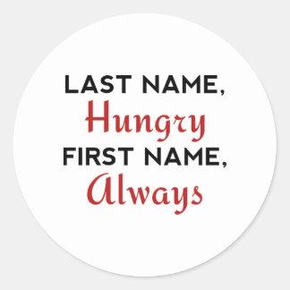 Adesivo Redondo Sobrenome com fome