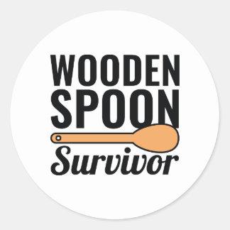 Adesivo Redondo Sobrevivente de madeira da colher