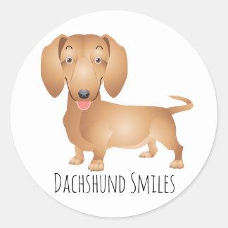 Adesivo Redondo Sorrisos do cão de filhote de cachorro do