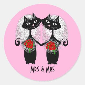 Adesivo Redondo Sra. & Sra. Lésbica Acoplamento Personalized