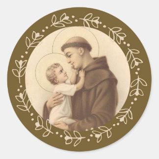 Adesivo Redondo St Anthony do bebê Jesus de Pádua