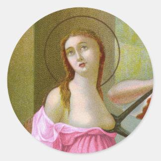 Adesivo Redondo St. cor-de-rosa Agatha (M 003)