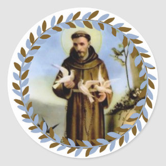 Adesivo Redondo St Francis do santo padroeiro de Assisi dos