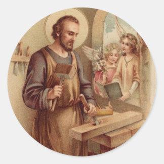 Adesivo Redondo St Joseph, criança Jesus, banco das ferramentas