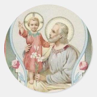 Adesivo Redondo St Joseph, criança Jesus, rosas do lírio