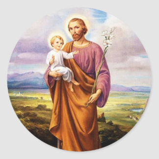 Adesivo Redondo St Joseph, criança Jesus, vintage do lírio
