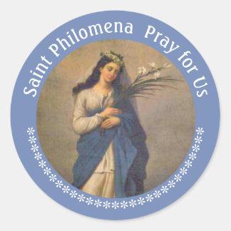 Adesivo Redondo St. Philomena palma lírios BANQUETE o 10 de agosto