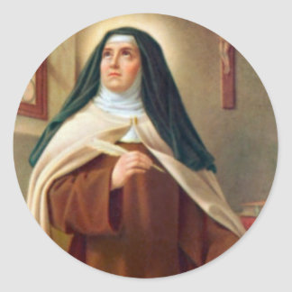 Adesivo Redondo St Teresa da freira carmelita de Avila