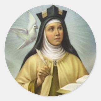 Adesivo Redondo St Teresa da pena carmelita da pomba da freira de