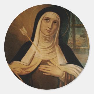 Adesivo Redondo St Teresa da seta carmelita da freira de Avila